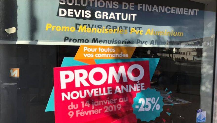Décoration vitrine adhésive promo